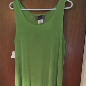 Green silky, stretch longish length dress
